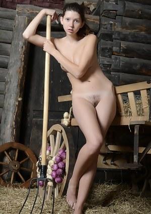Farm girl gets naked